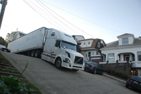 Tractor Trailer Truck vs San Francisco Hills