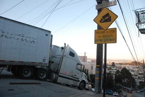 Tractor Trailer Truck vs San Francisco Hills